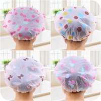 Wholesale Korean Long Hair Styles - Korean Style Cute Cartoon Waterproof Bathing Cap Adult Suit Long Hair Plastic Shower Cap for Adult Female