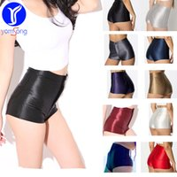 Wholesale Girls Shiny Spandex - 2017 Women's Shorts High Waisted Hot Pants High Waist Shiny Stretch Womens Girls Disco Satin Short Pants