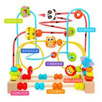 matematik oyuncakları toptan satış-Renkli Ahşap Boncuk Çevresi Erken Öğrenme Oyuncak Çocuk Çocuk Bebek Eğitici Matematik Oyuncak Hediye ile