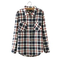 Wholesale Lapel Shirt Classic Women - Women casual checkered plaid shirts classic loose blouses long sleeve pockets European style brand tops blusas LT1255