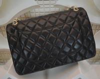 Wholesale Designer Lambskin Handbags - Women genuine leather bags handbags women famous brands designer handbags red interior lambskin shoulder bags double flap chain bag totes