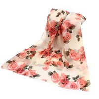 Wholesale Voile Red Rose - Wholesale-2016 New Summer Rose Womens Voile Long Scarves Beach Chiffon Shawl Scarf Amazing Jun 22