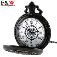 Wholesale Round Clock Necklace - Japanese Anime Black Butler Pocket Watch Quartz Fob Watches Vintage Necklace Pendant Chain Clock Retro Gifts For Men Women Kids