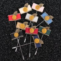 Wholesale Mens Flower Lapel Pins - New fashion Mens Pentagram zipper Suit Female Flower Leaf Lapel Pin Brooches Stick Boutonniere fabric yarn button Pins Broches for wedding
