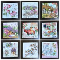 Wholesale Vintage Decoupage - Wholesale- 2 x Flower paper napkins for decoupage-33x33cm 3-ply vintage flower bird napkins Eiffel Tower lavender napkins