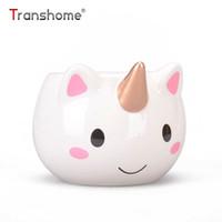 Wholesale porcelain horses - Transhome Unicorn Mug 300ml Rainbow Horse Unicorn Mugs Cup Cuteness 3d Unicorn Ceramic Coffee Mug Gold Stereo Cute Cups