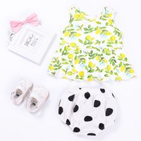 Wholesale Child Girl Suit Design - latest suit design for children 2017 ins summer toddlers girl fresh lemon printed vest top+polka dot pp pants cotton two piece