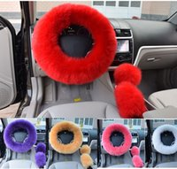 "Wholesale Wool Steering Wheel Cover - 6 Colors 14.96"" Winter Warm Wool Handbrake Cover Gear Shift Cover Steering Wheel Cover 1 Set 3 Pcs"