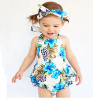 bebek elbiseleri saç bantları toptan satış-Bow Kızlar Ruffled tulum ile 0-3T Bebek Çiçek elbise + Saç bandı + PP pantolon Kız ins Pamuk baskı kolsuz romper