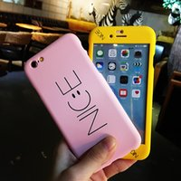 Wholesale Nice Phone Cases - ultra thin 360 full body Nice smile Case +Tempered Glass Screen Protector for iPhone6 6s 7Plus Mobile Phone Case frosted letter Cover