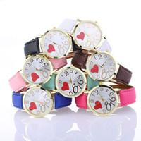Wholesale love watch wristwatches - Womens Casual Fashion Wristwatches Relogio Feminino New Love Patterns Fashion Women Colored PU Leather Watches Wrist Watch Saat