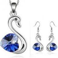boucles d'oreilles pendentif coeur achat en gros de-Autriche cristal swan pendentif collier boucles d'oreilles ensembles de bijoux de haute qualité en argent plaqué cristal charme coeur bijoux pour la fête de mariage