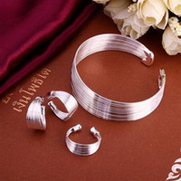 Wholesale Earrings Multi Bracelets - 925 jewelry silver plated set, fashion jewelry set Multi-Stands Ring Earrings Bangle S312  cppalgwa damalrta LKNSPCS312