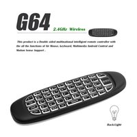 ingrosso tastiera del mouse dell'aria di tocco bianco-Tastiera wireless Tastiera bianca con retroilluminazione Fly Air Mouse Tastiera QWERTY Telecomando G64 2.4GHz Gyro per Android TV Box Notebook PC MAC