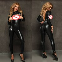 Women Cosplay Gloves 2-Way Zipper To Crotch Vinyl PVC Role-playing Latex Costume