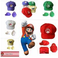 Wholesale Mario Hat Cartoon - New Adult Cartoon Super Mario Hats Cosplay Fashion Costume Baseball Hats Caps Sneaker Hip Hop Berets Hat YYA253