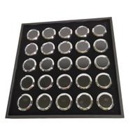 diamantes sueltos redondos al por mayor-Black 25 Cells Round Diamond Gemstone Tray con 25 piezas sueltas Round Metal Gem Stone Display Perlas Pear Storage Collection cuadro 21 * 21 * 2.5cm