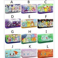 Wholesale Anime Cases - 12colors new cartoon printing PU Pencil Case Kids fashion poke pen Bag anime Pocket Monster pattern Pencil Bags 20x9x6.5cm