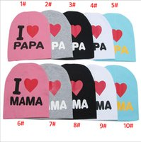 Wholesale I Love Mama Papa - 36 Designs Baby Beanie Hats Skull Caps Children Cotton Crochet Hat Kids Skullcap I Love Papa Mama Dad Mom Infant Cap Free DHL