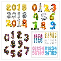 Wholesale Digital Foil - 16inch Pink & Blue Silve Gold Number 0-9 foil balloons digital helium baloes New year Birthday Event party supplies Wedding decoration