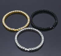 Wholesale July Party - 3Colors Men Iced Out 1 Row Rhinestones Bracelet Men's Hip Hop Style Clear Simulated Diamond Bangles 2017 July Style