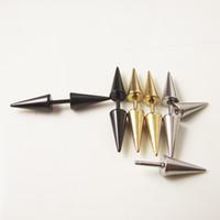 Wholesale Helix Piercing Earrings - 30 pcs 16G Gold Silver Black Stainless Steel Spike Cone Earring Stud Ear Helix Piercing Jewelry