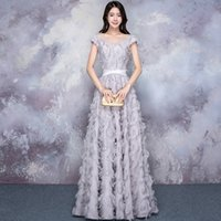 Wholesale Elegant Short Feather Prom Dresses - Evening Dress Elegant Gray Sheer Scoop Neck Short Sleeves Lace Up Back Floor Length A Line Tulle Lace Feather Modern Party Prom Dress