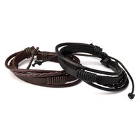 Wholesale Jewelry Pieces For Leather Bracelets - Fashion Female Mens Leather Charm Bracelets Handmade Design Hip Hop Jewelry Punk Filling Pieces Men Braided Leather Bracelets for Men