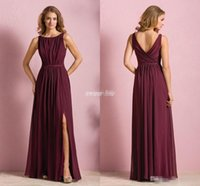 Wholesale Cheap Beach Dresses For Women - Elegant Cheap Wine Red Chiffon Long Beach Bridesmaid Dresses 2017 Wedding Party Dress For Women Maid of Honor Dresses With Split Jewel Neck