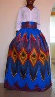 Wholesale Maxi Dresses Peacock Print - 2017 African Women Boho Peacock Dashiki Dresses Cocktail Clubwear high waist Pleated Skirt National characteristic Maxi Dress