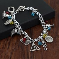 Wholesale Harry Potter Hallows Bracelet - New Harry Mixed Bracelets Golden Snitch Deathly Hallows Talking Hat Snake Always Scars Resurrection stone rings Charms Potter Drop Shipping