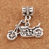 Wholesale Charm Motorcycles - Motorcycle Charm Beads 100pcs lot 24.5x23mm Antique Silver Fit European Bracelets Jewelry DIY Metals Loose Beads B494