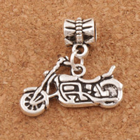 Wholesale Motorcycle Charm Beads x23mm Antique Silver Fit European Bracelets Jewelry DIY Metals Loose Beads B494