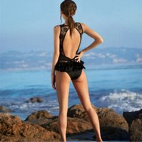 Wholesale Sexy Lace Swimsuits - New Black One Piece Swimwear for Women High Cut Maillot De Bain Une Piece Backless Lace Monokini Sexy Lady's Swimsuits Bathing Suits SW8455