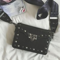 Wholesale Celebrity Bags Genuine Leather - Celebrity style messenger bags women brand flap purse borse 2017 shoulder bag rivet crossbody bag designer handbags high quality