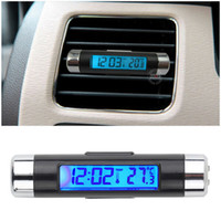 Wholesale Automotive Clocks - Wholesale- 1pcs Blue back light Car LCD Clip-on Digital Backlight Automotive Thermometer Clock Calendar Free   Drop Shipping#