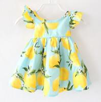 Wholesale fashion boutique color line - 2018 Cotton Baby Childrens Dresses for Girls Clothing Lemon Print Princess Dress Fashion Summer Girl Kids Kids Dress Boutique Enfant Clothes
