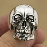 Wholesale Mens Handmade Rings - LINSION Handmade 925 Sterling Silver High Details Skull Mens Biker Rock Punk Ring TA76 Size 7 to 15