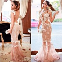 Wholesale Clothe Made China - Romantic Champagne Lace Appliques Mermaid Prom Dresses Long 2016 Sexy Sheer Tulle Backless Party Gown Cheap Clothes China