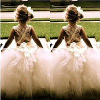 Wholesale beautiful gowns for children resale online - Beautiful Flower Girl Dresses for Wedding New Princess Tulle Party Birthday Communion Pageant Dress Little Girls Kids Children Dress