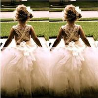 linda menina vestidos de noiva venda por atacado-Linda flor menina vestidos para o casamento nova princesa tule festa de aniversário comunhão pageant dress little girls crianças / crianças dress 2017