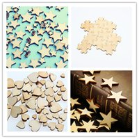 Wholesale Making Jigsaw Puzzles - 50 Pcs Wooden Jigsaw Puzzle Two-sided Handmade DIY Craft Accessories for Card Making Scrap Booking Room Party Wedding Decor
