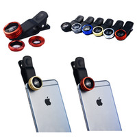 3PCS Set Universal Clip-On Phone Objectif 0.65X Grand angle + 180 Fisheye len + 10X Macro Lentille caméra Selfie pour iPhone Android HTC