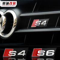 audi logo emblem оптовых-Автомобиль Стиль Audi Bonnet Капот Гриль аксессуары 3D S3 S4 S5 S6 S7 S8 Логотип Стайлинга автомобилей Передняя решетка капота Эмблема Значок стикер