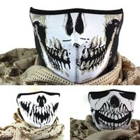 máscaras de neopreno al por mayor-Máscaras de neopreno media cara disfraces de Halloween fiesta del cráneo máscara de cara moto moto esquí snowboard deportes pasamontañas cs máscaras