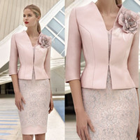 Wholesale Yellow Jacket Outfit - Cheap Pink Mother Of The Bride Dresses With Jacket Lace Appliqued Wedding Guest Dress Knee Length Short Mothers Formal Outfit