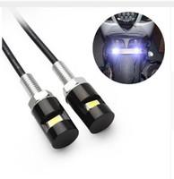 plaque d'immatriculation en gros achat en gros de-Moto LED feux de plaque d'immatriculation 12V SMD 5630 voiture Auto queue numéro avant lampes ampoules Styling vis boulon blanc