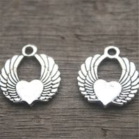 Wholesale angel wings heart pendant online - 15pcs Angel Wing Heart Charms Antique Tibetan Silver Lovely Flying Heart With Wings Charms Pendant x19mm