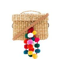 Wholesale Colorful Handmade Bag - 2017 Colorful Ball Summer Bags Beach Bag Straw Totes Bag Luxury Design Women Handmade Pom Pom Flap Box Handbags Travel Clutch C112