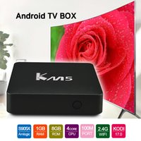 Wholesale Set Up Boxes Wholesale - KM5 4K Smart TV Box Android 6.0 Kodi Fully Loaded Amlogic S905X Quad Core 64bit Set Up Box 1G 8G Wifi LAN Google Streaming Media Player